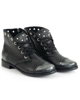 Booties B453 black-silver wide