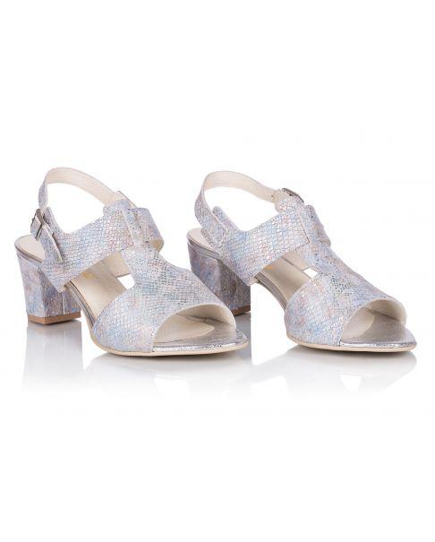 Sandałki L222 srebrno-niebieskie szerokie