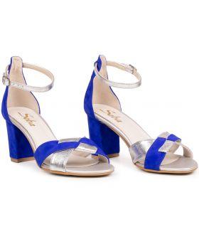 Sandałki L598 niebieskie szerokie