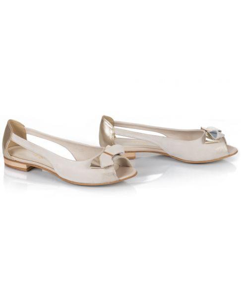 Sandałki beżowo-złote L757 szerokie